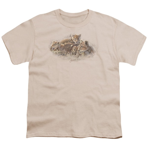 Wildlife/Lion Cubs Short Sleeve Youth 18/1 in Cream/Ivory