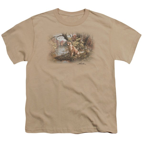 Wildlife/Ready To Go On Short Sleeve Youth 18/1 in Sand