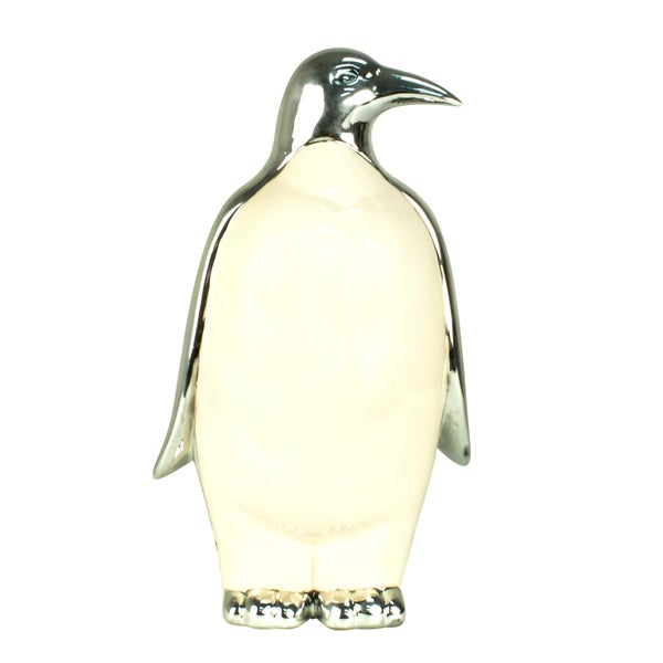 White Ceramic 11-inch Penguin Figurine