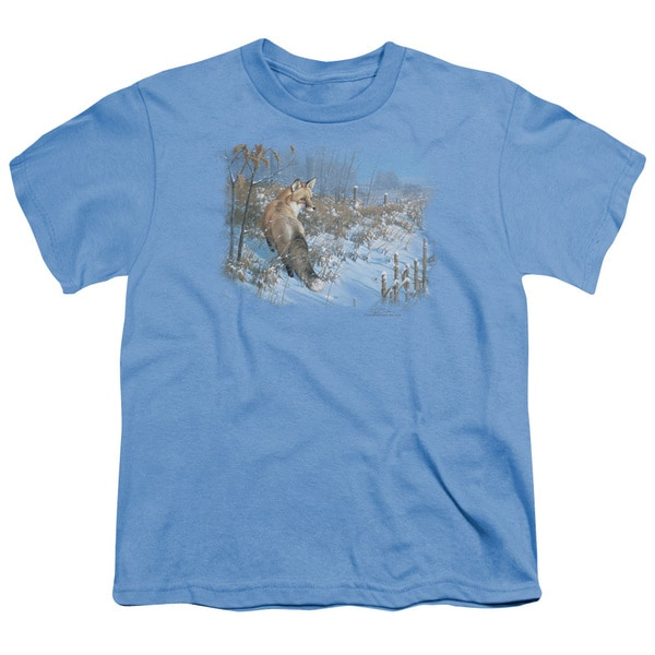 Wildlife/Winter Red Fox Short Sleeve Youth 18/1 Carolina Blue