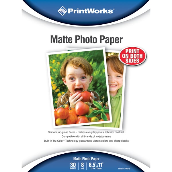 "PrintWorks 00548 8.5"" X 11"" Double Sided Matte Photo Paper 30 Count"