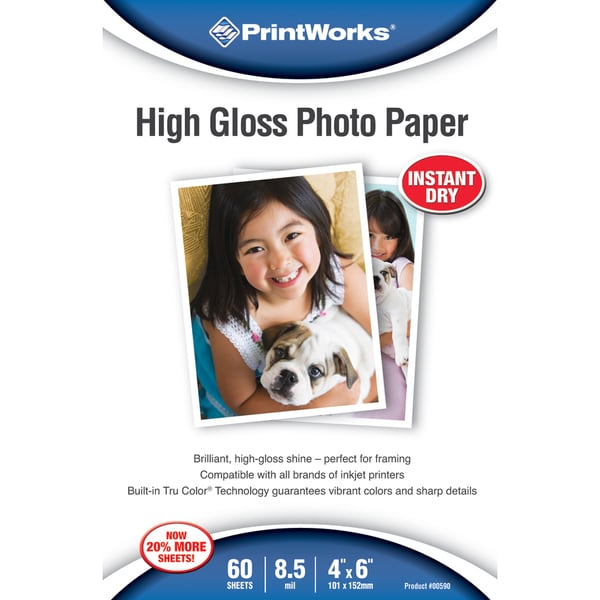 "PrintWorks 00590 4"" X 6"" Printworks High Gloss Photo Paper 60 Count"