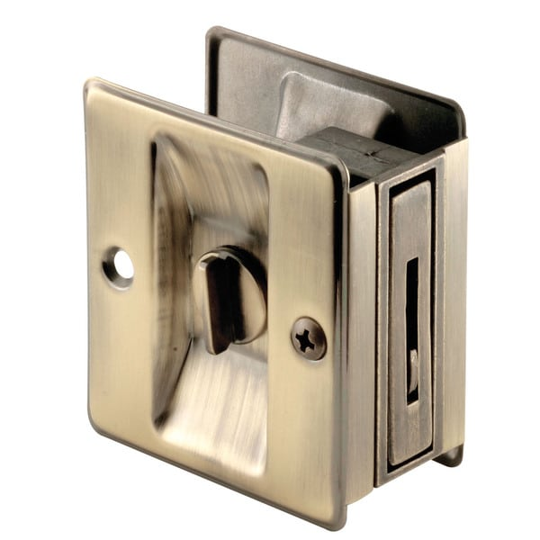 Prime Line N6774 Antique Brass Pocket Door Privacy Lock