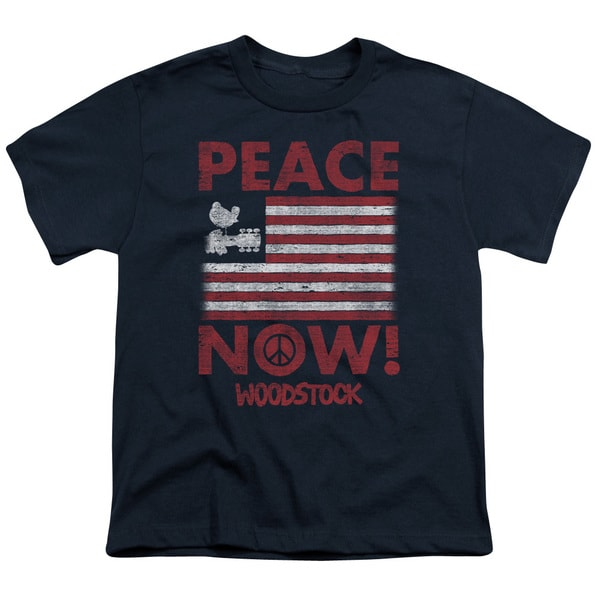 Woodstock/Peace Now Short Sleeve Youth 18/1 in Navy