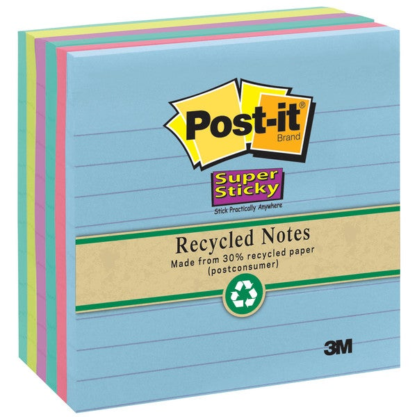3M 675-3SSMX Assorted Neon Lined Post-it Super Sticky Recycled Notes