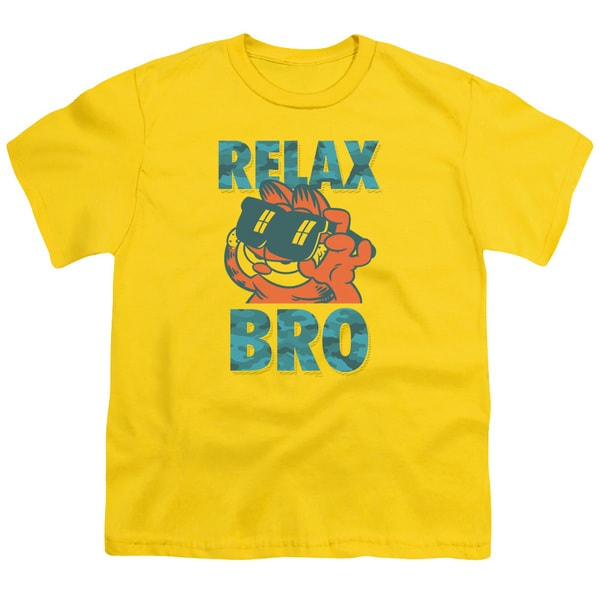 Garfield/Relax Bro Short Sleeve Youth 18/1 in Yellow