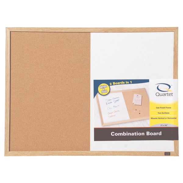 "Boone 35-380402Q 17"" X 23"" Wood Finish Combination Dry Erase & Bulletin Board"