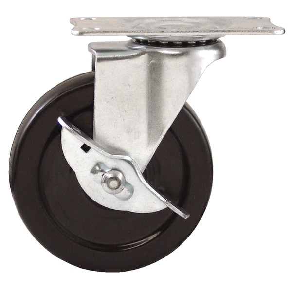"Waxman Consumer Group 4326455 4"" Rubber Plate Swivel Caster w/ Brake"