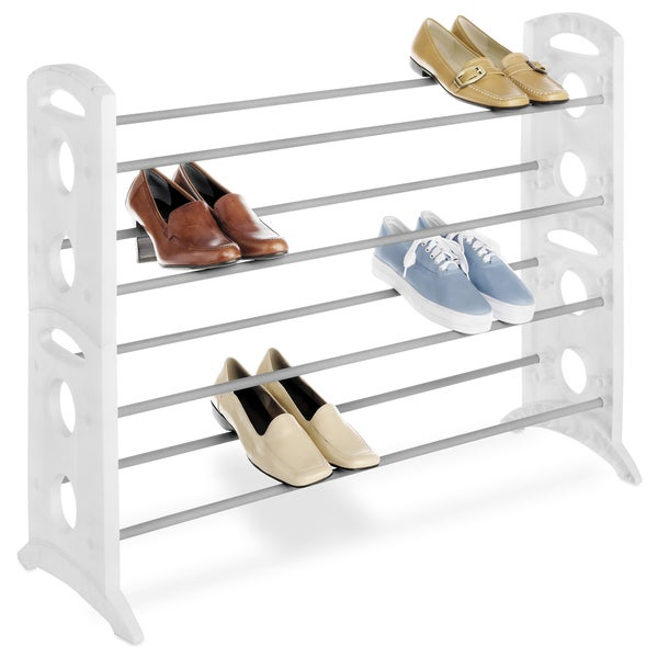 Whitmor 6486-1744-WHT 20 Pair Floor Shoe Stand