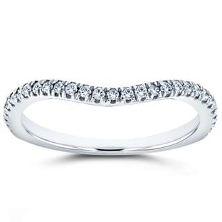 Annello by Kobelli 14k White Gold 1/5ct TDW Diamond Curved Enhancer Type Wedding Band