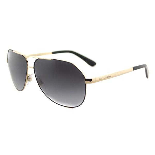 Dolce & Gabbana DG 2144 12968G Matte Black Metal Grey Gradient Lens Aviator Sunglasses