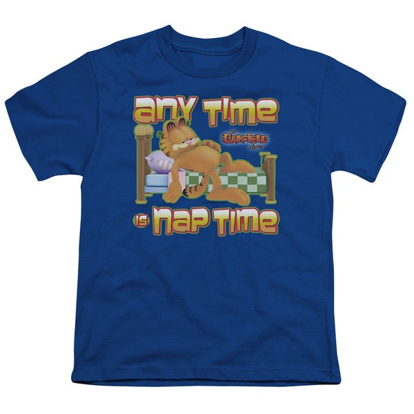 Garfield/Nap Time Short Sleeve Youth 18/1 in Royal