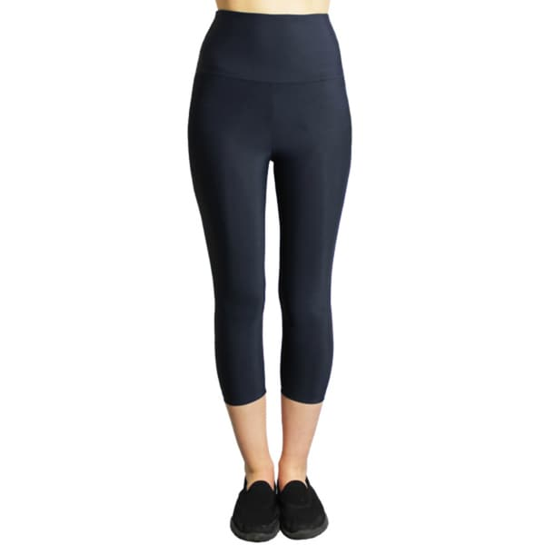 Slim Women's Navy-blue Moisturizing Compression High-waist Capri Leggings