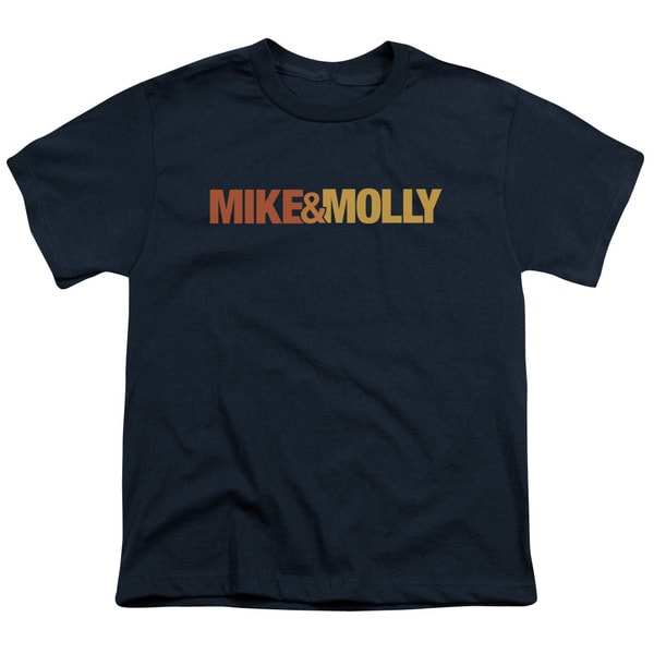 Mike & Molly/Logo Short Sleeve Youth 18/1 in Navy