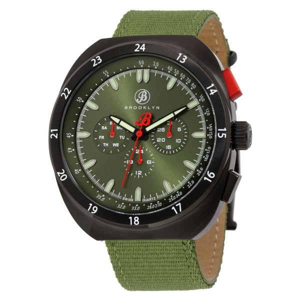 Brooklyn Watch Co. Floyd Stainless Steel Multifunction Watch with Green Canvas Strap