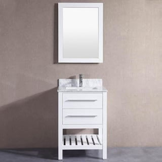 24-inch Belvedere White Bathroom Vanity with Marble Top and Backsplash