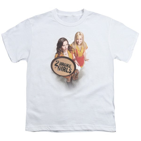 2 Broke Girls/Tips Really Short Sleeve Youth 18/1 in White