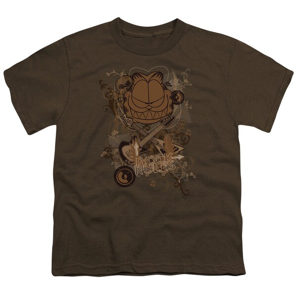 Garfield/Rock Rules Short Sleeve Youth 18/1 in Coffee