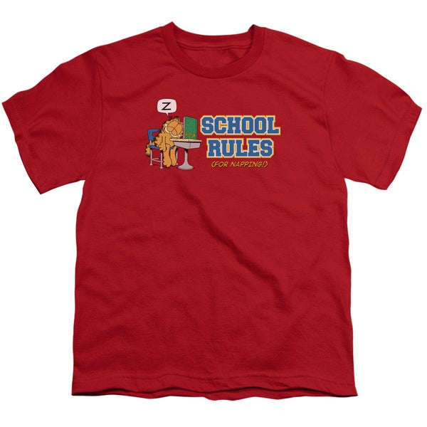 Garfield/School Rules Short Sleeve Youth 18/1 in Red