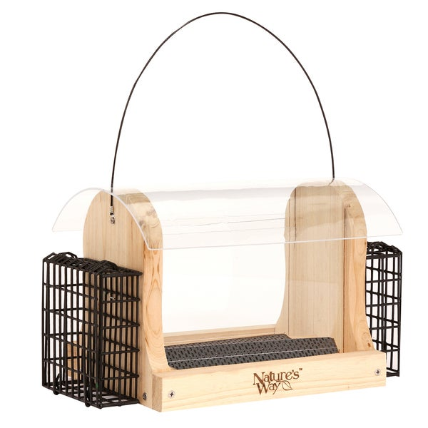 Nature's Way 4 Quart Cedar Hopper Feeder With 2 Suet Cages