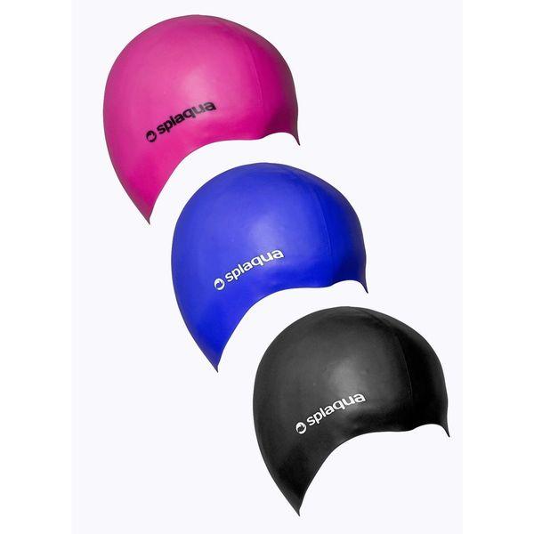 Splaqua Silicon Solid Swim Bathing Cap - Black, Pink, Blue