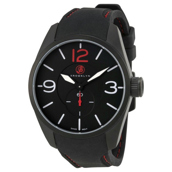 Brooklyn Watch Co. Lafayette Men's Black Watch with Rubber Strap
