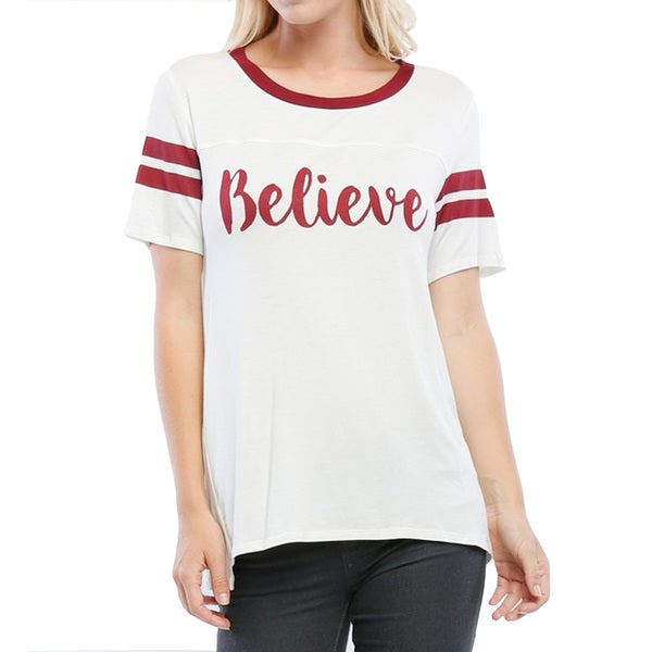 Women's White Rayon Blend 'Believe' Varsity Top
