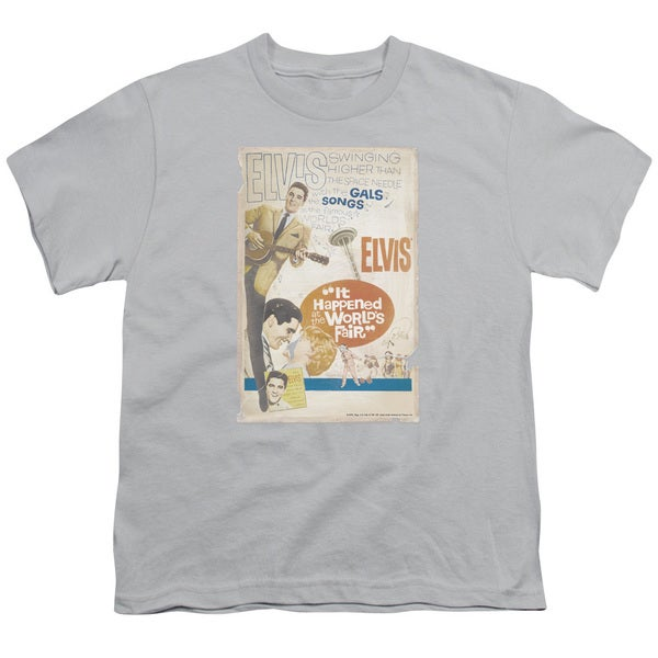 Elvis/World Fair Poster Short Sleeve Youth 18/1 in Silver