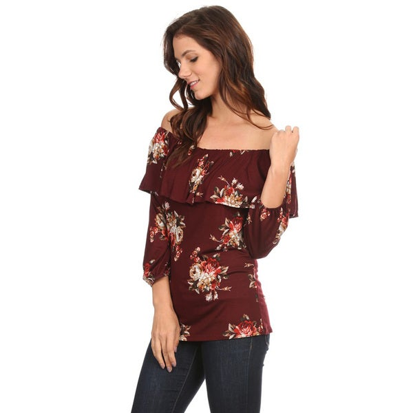 Women's Floral Rayon Double Layer Top