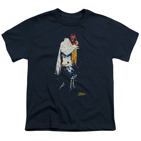 Elvis/Yellow Scarf Short Sleeve Youth 18/1 in Navy