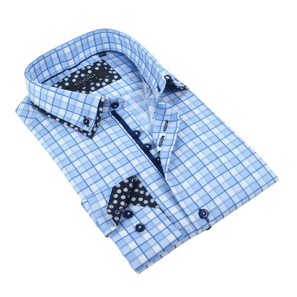 Coogi Mens White/Light Blue Checkered Dress Shirt