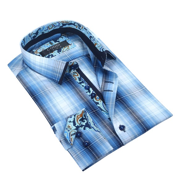 Coogi Mens White/Navy Dress Shirt