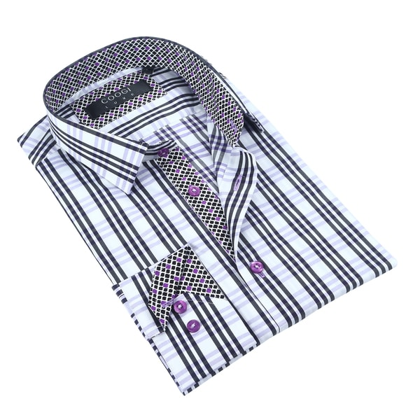 Coogi White/Black/Purple Checkered Mens Dress Shirt
