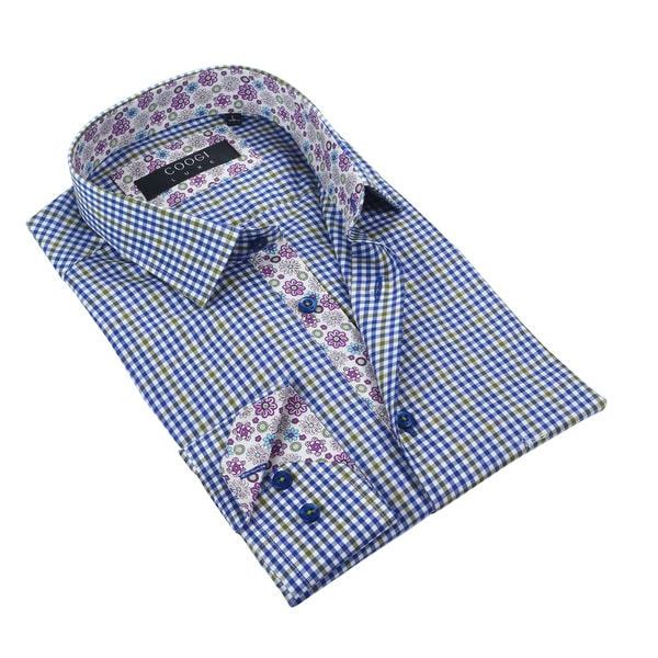 Coogi Luxe Navy/Olive/White w/Floral Trim Mens Dress Shirt