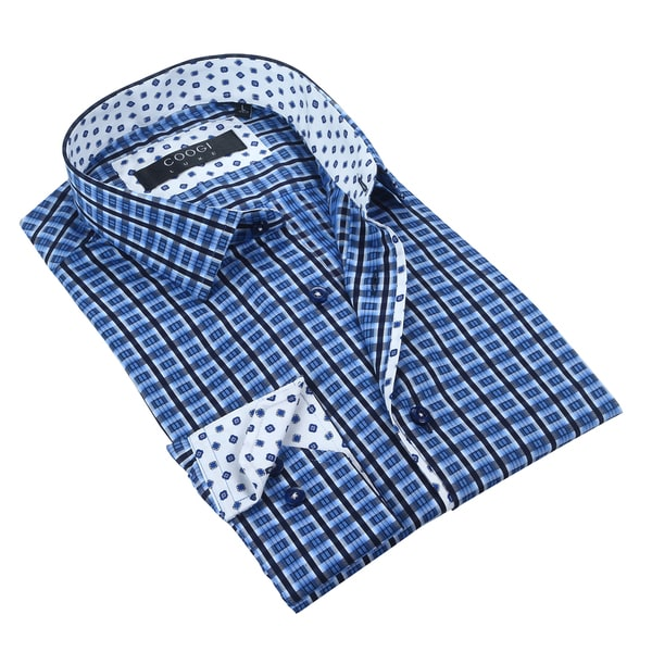Coogi Luxe Navy/White Stripe Mens Dress Shirt
