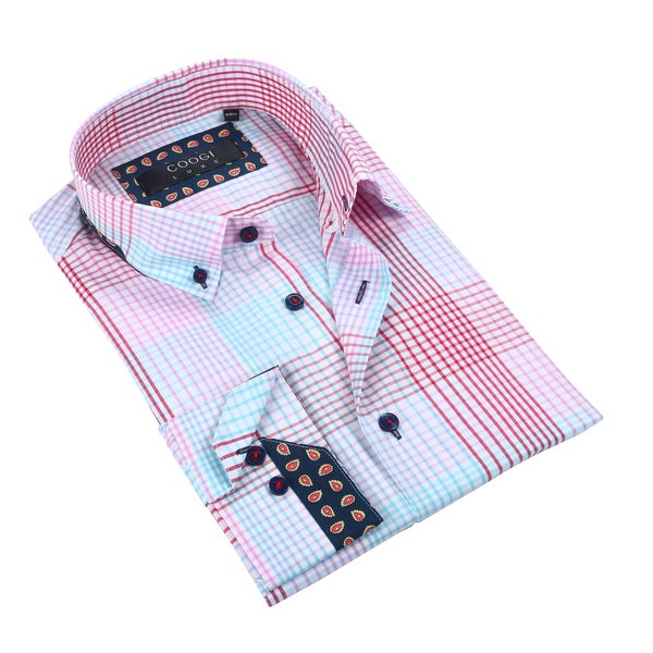 Coogi Luxe White/Blue/Pink Plaid Mens Dress Shirt