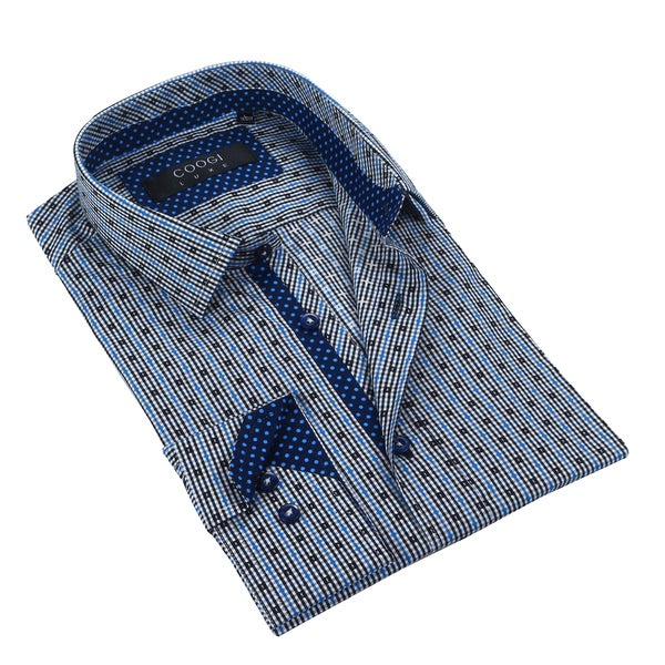 Coogi 100% Cotton White/Black/Blue Mens Dress Shirt