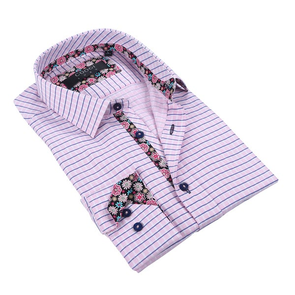 Coogi 100% Cotton Men's Pink/Navy Checkered Dress Shirt w/Floral Trim