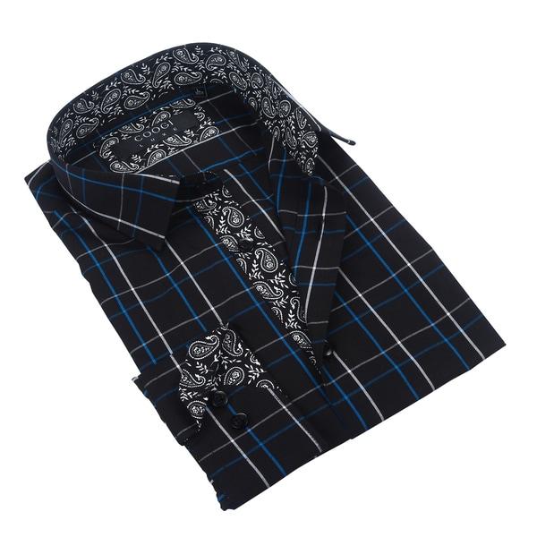 Coogi Luxe Black/Blue Plaid Dress Shirt w/Paisley Trim