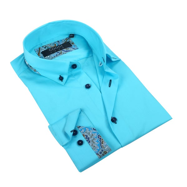 Coogi Luxe 100% Cotton Teal Dress Shirt w/Paisley Trim