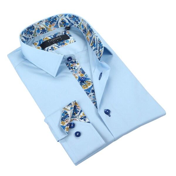 Coogi Mens Solid Blue w/Floral Trim Dress Shirt