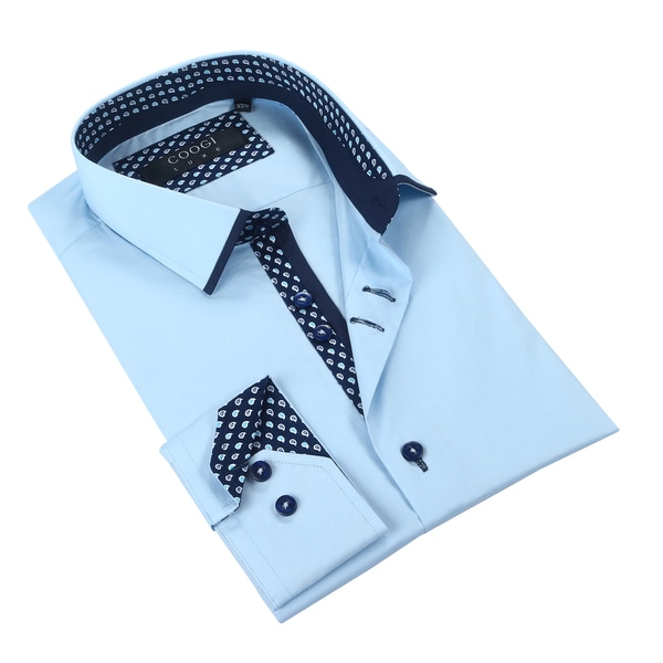 Coogi Mens Solid Blue w/Paisley Navy Trim Dress Shirt