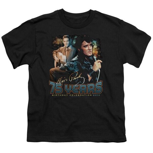 Elvis/75 Years Short Sleeve Youth 18/1 in Black