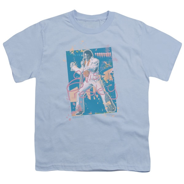 Elvis/Splatter Hawaii Short Sleeve Youth 18/1 Carolina Blue