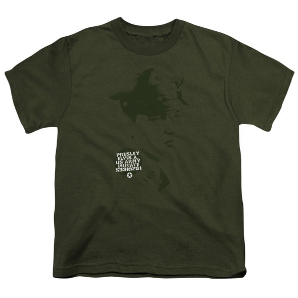 Elvis/Private Presley Short Sleeve Youth 18/1 in Military Green