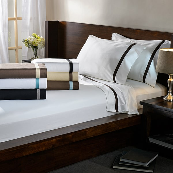 Hotel Collection Cotton Sateen 300 Thread Count Pillowcase Separates (Set of 2) King Size in White/Black(As Is Item)