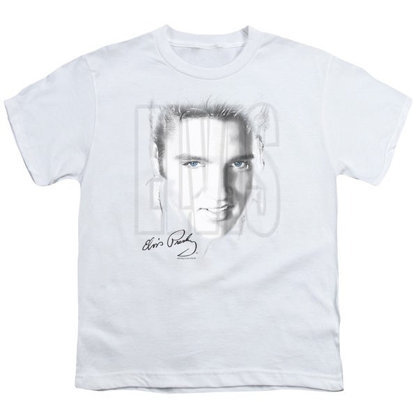 Elvis/Blue Eyes Short Sleeve Youth 18/1 in White