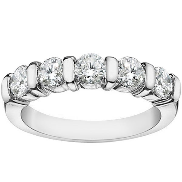 Platinum 1ct TDW Channel Bar 5-Stone Diamond Wedding Ring (G-H, SI1-SI2)