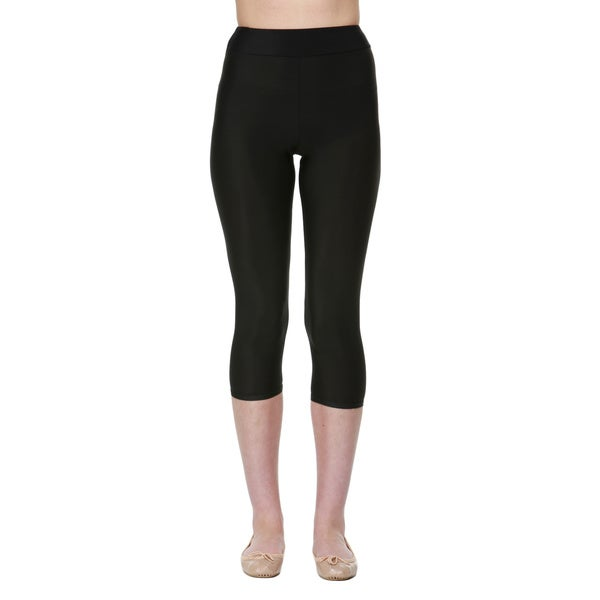 Women's Black Lycra/Elastane/Spandex/Nylon Slim-fit Moisturizing Compression Capri Leggings