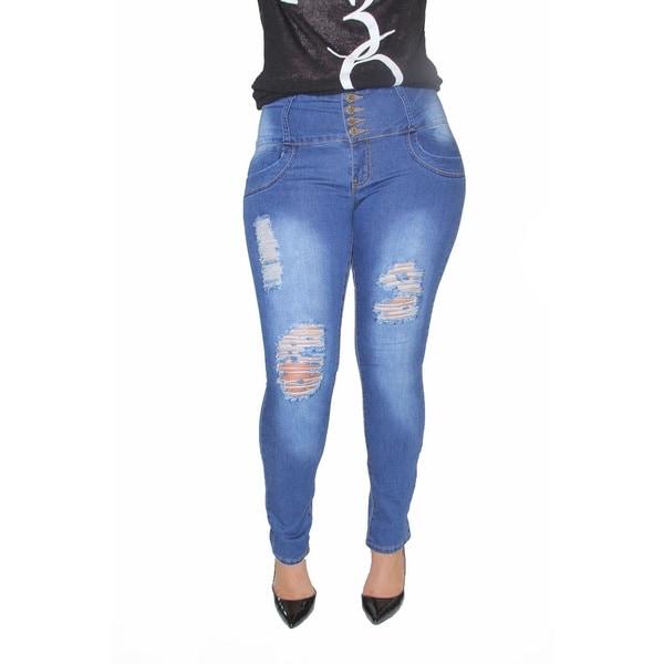 Juniors' Blue Denim Blend Plus Size Ripped Skinny Jeans